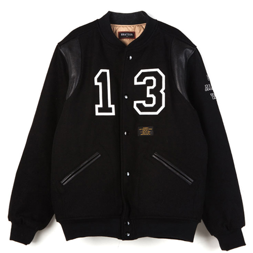 BRATSON브랫슨_FAKE ALL YOU WANT VARSITY JACKET BLACK