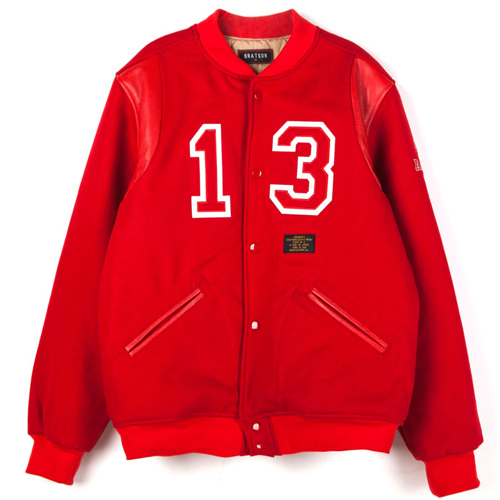 BRATSON브랫슨_FAKE ALL YOU WANT VARSITY JACKET RED