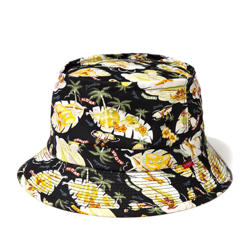 LEATA리타_[무료배송]Hawaiian 'Aloha story' bucket hat(BLACK)버킷햇