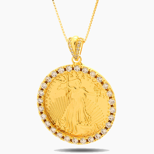 KINGICE킹아이스_Gold Coin CZ Necklace