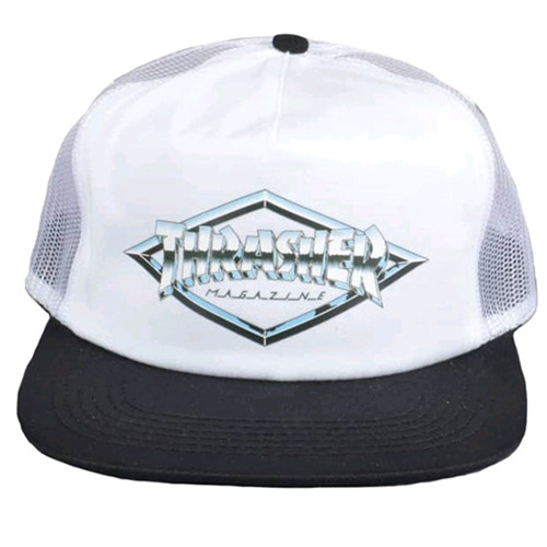 THRASHER트래셔_DIAMOND EMBLEM TRUCKER HAT (WHITE)