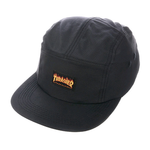 THRASHER트래셔_FLAME LOGO 5-PANEL HAT (BLACK)