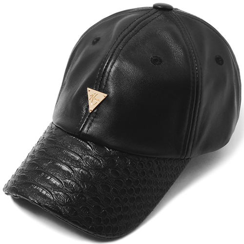 HATER헤이터_Genuine Lambskin Leather Snake Brim Cap Black