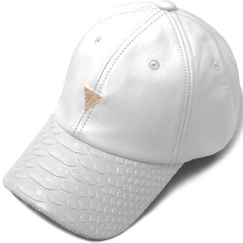 HATER헤이터_Genuine Lambskin Leather Snake Brim Cap White