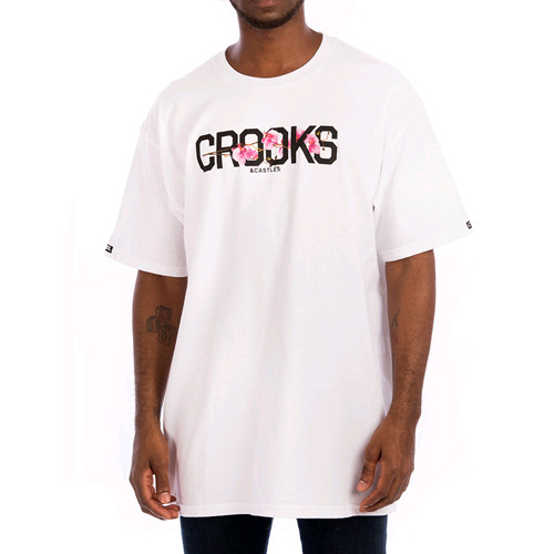CROOKS & CASTLES Mens Knit Crew T-Shirt - Flourish (WHITE)