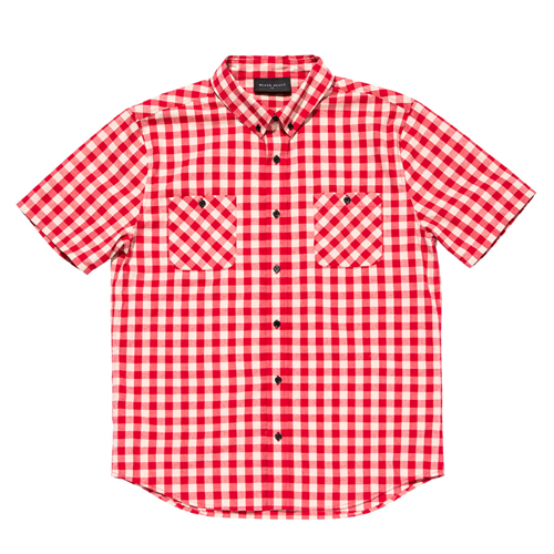 BLACKSCALE 블랙스케일_Gingham Plaid Short Sleeve Button Down Red