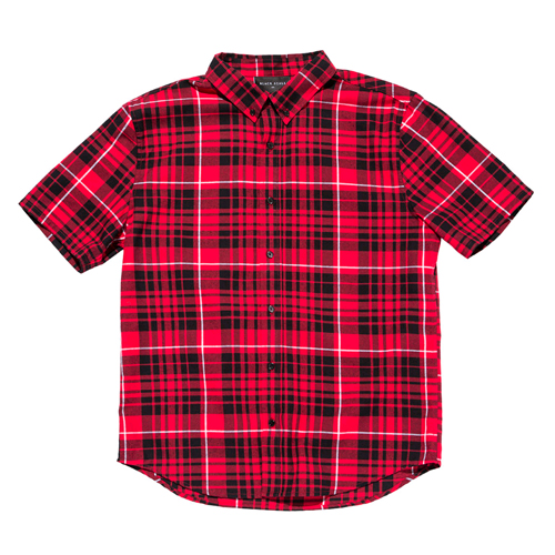BLACKSCALE 블랙스케일_Signature Plaid Short Sleeve Button Down Red