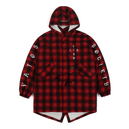 STIGMA스티그마 WORLD OVERSIZED WOOL CHECK VELBOA COAT RED
