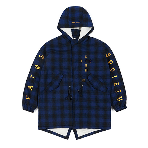 STIGMA스티그마 WORLD OVERSIZED WOOL CHECK VELBOA COAT BLUE