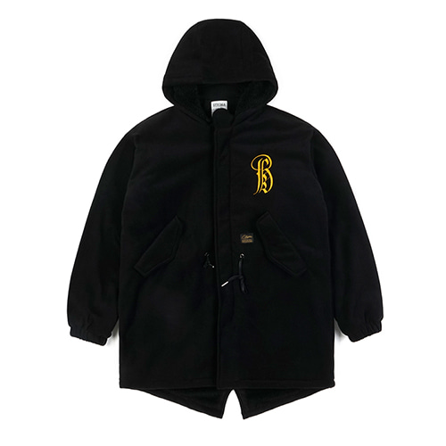 STIGMA스티그마 VATOS OVERSIZED FLEECE VELBOA COAT BLACK