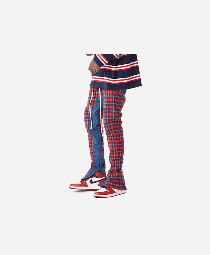 FNTY플라잉나인티_FNTY Plaid denim pants RED