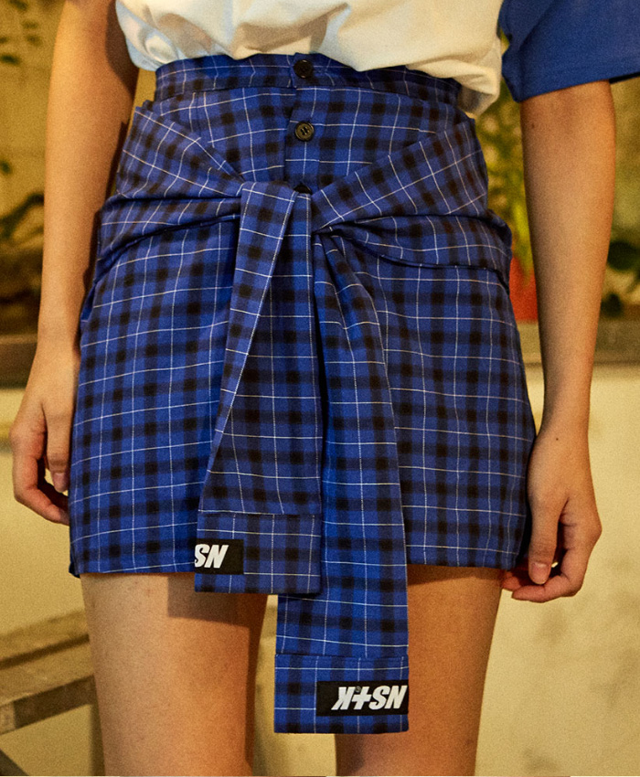 NASTY KICK네스티킥_[NSTK] FAKE SLEEVE SKIRT (BLUE)