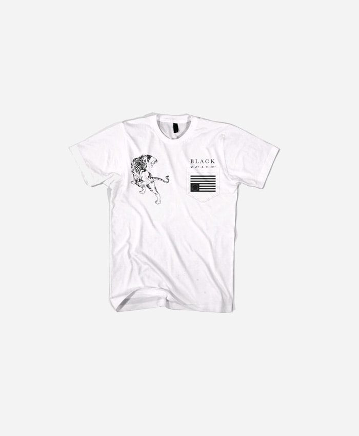 BLACKSCALE 블랙스케일_BLACKSCALE Tiger Rebel Pocket T-Shirt White
