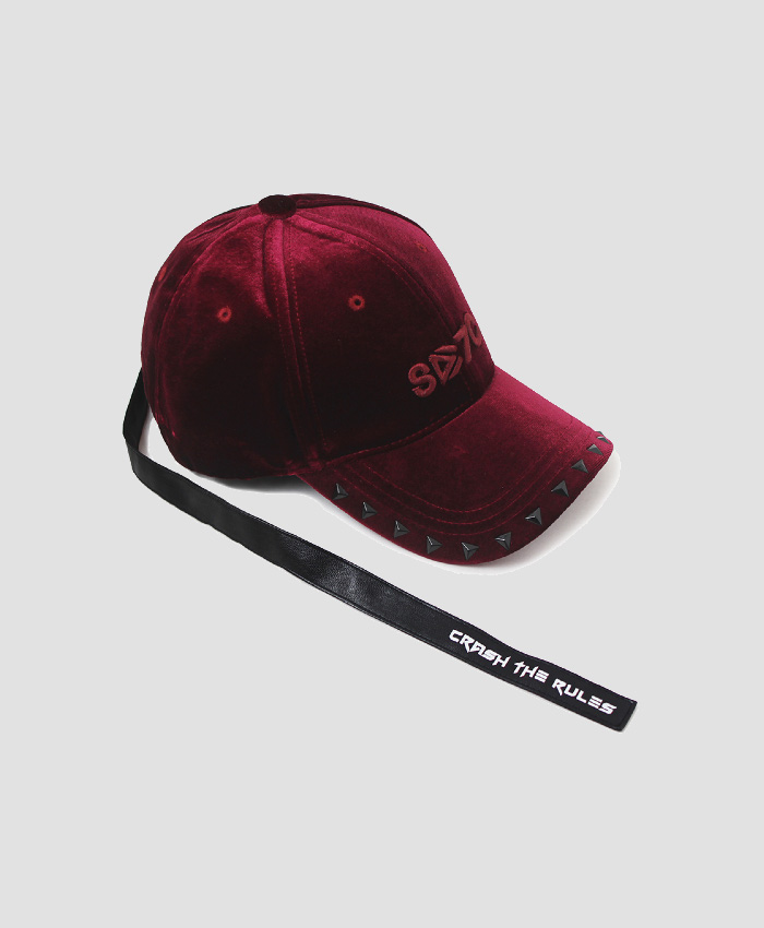 HATER헤이터_HATer X 7Crash velvet Cap Crimson
