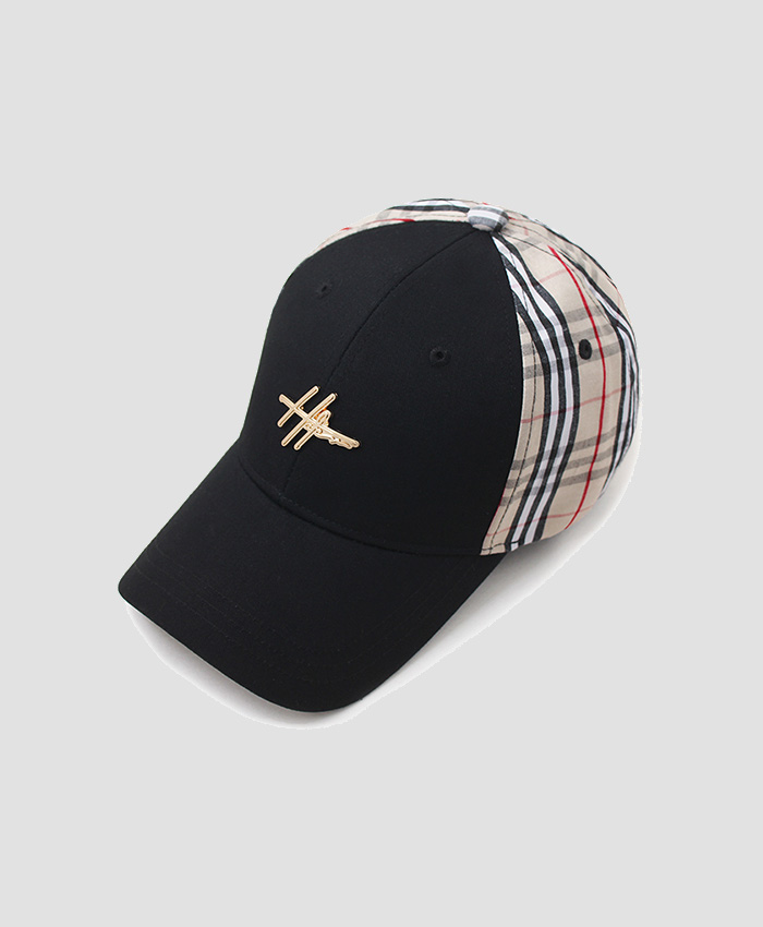 HATER헤이터_HATER Sketch Logo Colorblock Plaid Cap