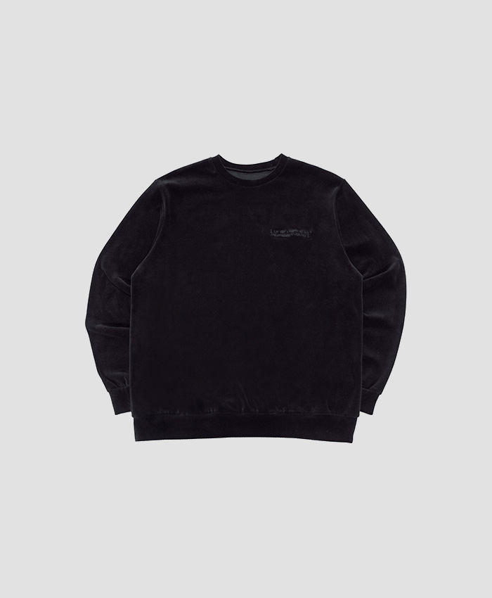 IAMNOTAHUMANBEING아임낫어휴먼비잉_BASIC VELOUR CREWNECK SWEATSHIRTS - BLACK