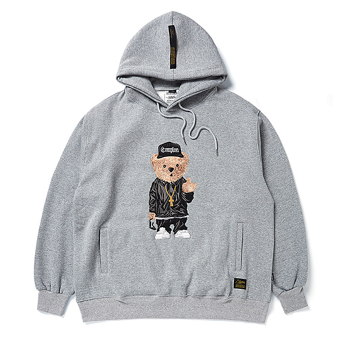 스티그마EMB COMPTON BEAR OVERSIZED HEAVY SWEAT HOODIE GREY