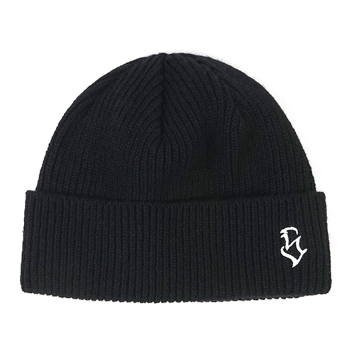 스티그마S - LOGO WOOL SHORT BEANIE BLACK
