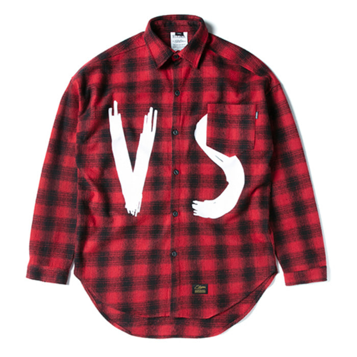 스티그마VSC OVERSIZED WOOL CHECK SHIRTS RED