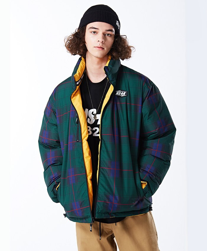 NASTY KICK네스티킥_[NSTK]MAZE REVERSIBLE DOWN JACKET YELLOW (NK18A002H)