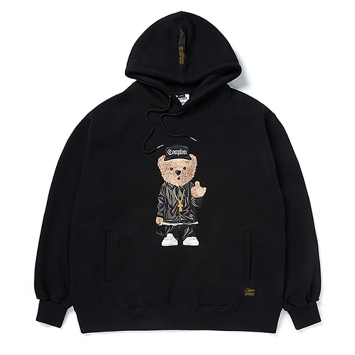 스티그마EMB COMPTON BEAR OVERSIZED HEAVY SWEAT HOODIE BLACK