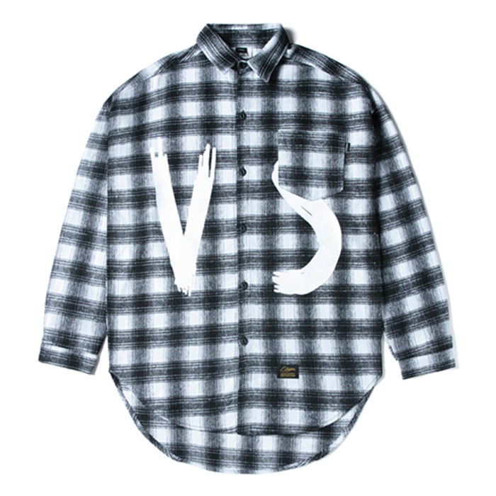 스티그마VSC OVERSIZED WOOL CHECK SHIRTS WHITE