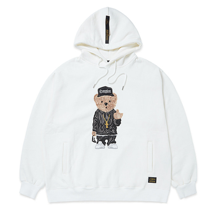 스티그마EMB COMPTON BEAR OVERSIZED HEAVY SWEAT HOODIE WHITE