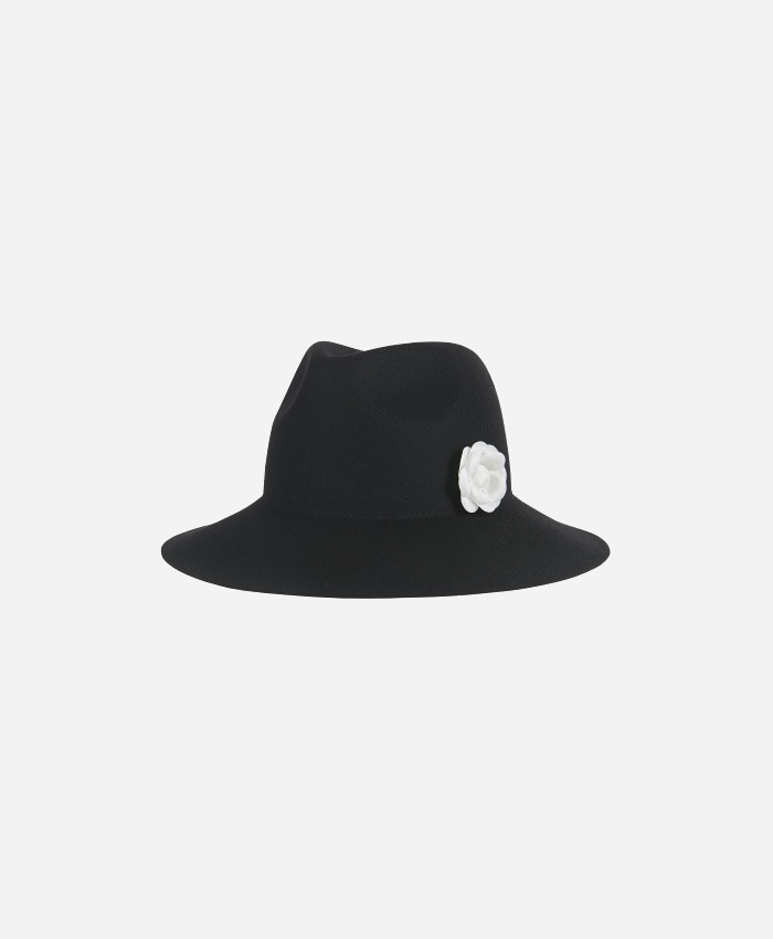VARZAR바잘_Varzar Camellia wool floppy hat black