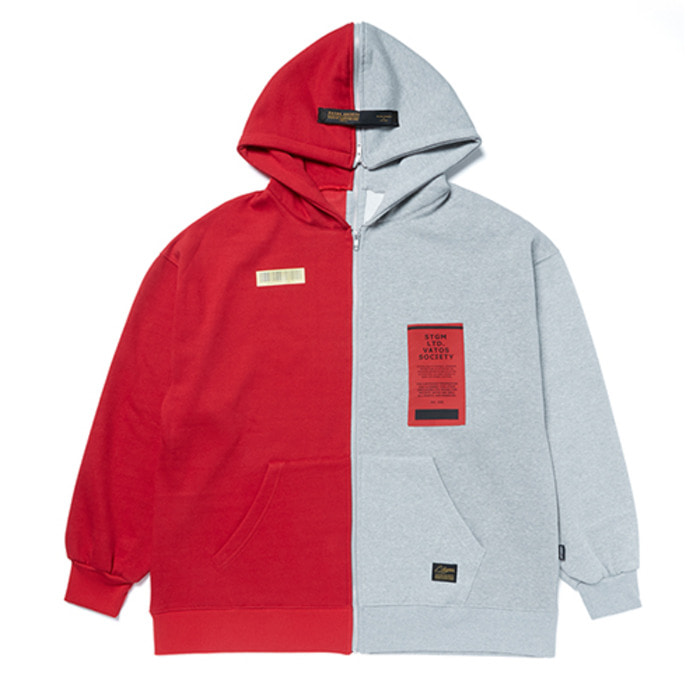 스티그마SPLIT OVERSIZED HEAVY SWEAT ZIPUP HOODIE RED