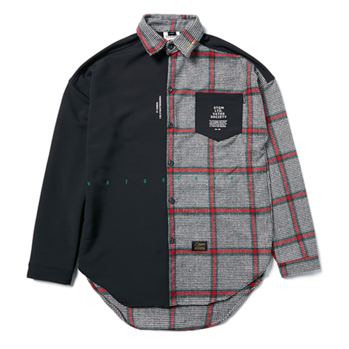 스티그마SNAKE OVERSIZED CHECK SHIRTS BLACK