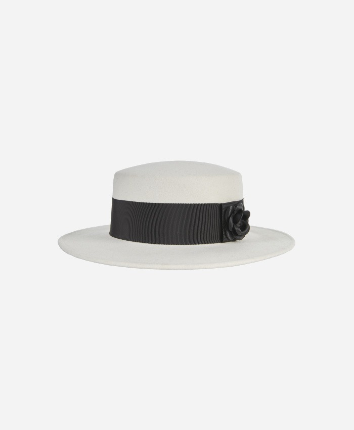 VARZAR바잘_Varzar Camellia wool boater hat cream