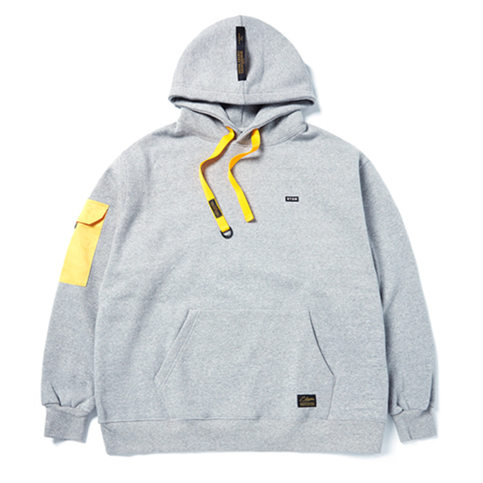 스티그마STGM POCKET OVERSIZED HEAVY SWEAT HOODIE GREY