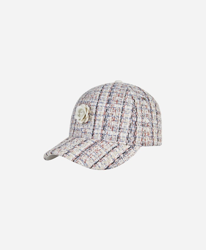 VARZAR바잘_Varzar Camellia chain leather ballcap white/multi