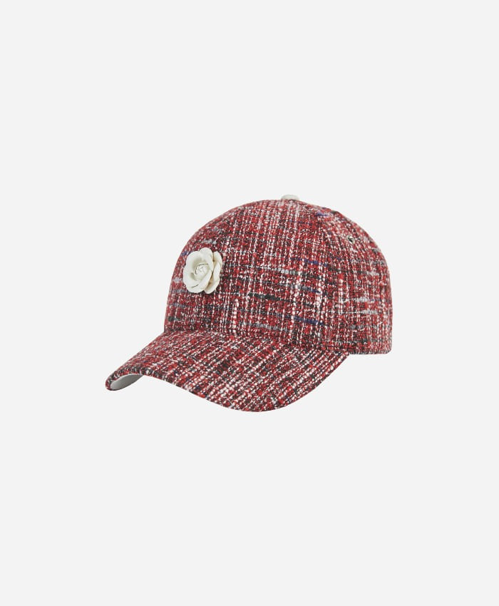 VARZAR바잘_Varzar Camellia chain leather ballcap red/multi
