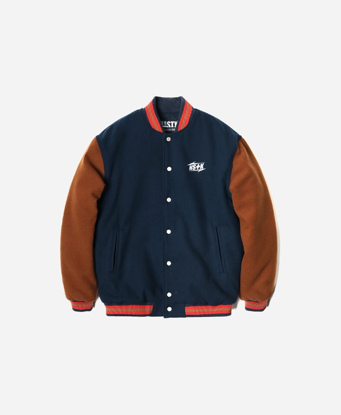 NASTY KICK네스티킥_[NK] NSTK NARROW VARSITY JACKET NAVY (NK18A118H)