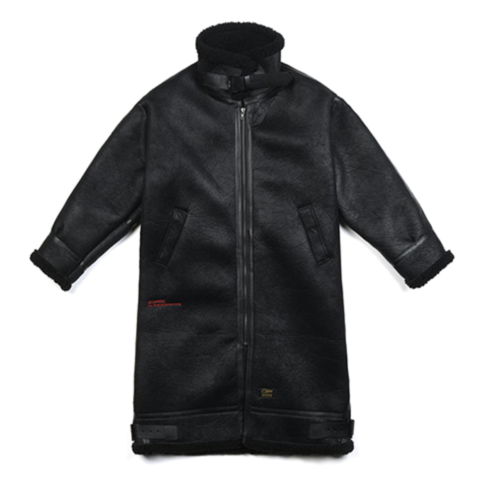 스티그마STGM OVERSIZED MOUTON LONG JACKET BLACK