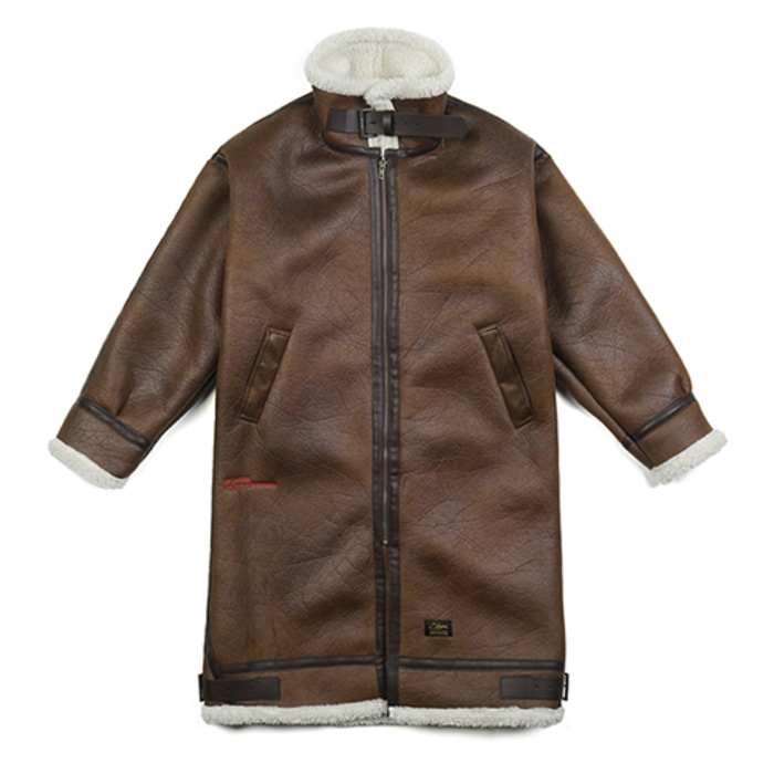 스티그마STGM OVERSIZED MOUTON LONG JACKET BROWN