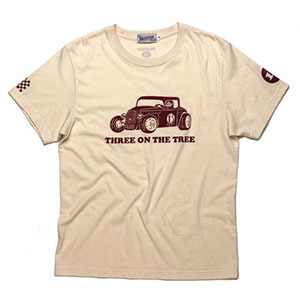 BRATSON브랫슨_THREE ON THE TREE T-SHIRT BEIGE/BURGUNDY