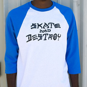 THRASHER트래셔_SKATE AND DESTROY RAGLAN(WHITE/BLUE)